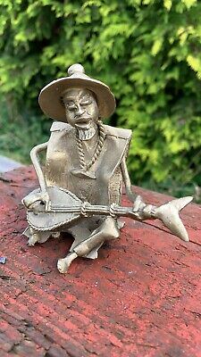 Vintage Small Brass Chinese Oriental Man Playing Instrument *