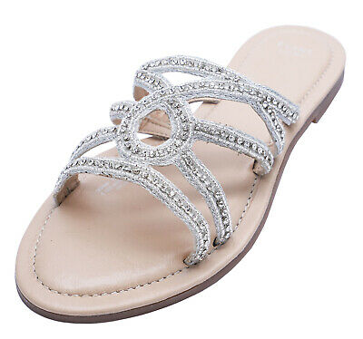 Womens Leather Extra Wide Fit Eee Flat Slip-On Sandals Sliders Shoes Sizes 4-10