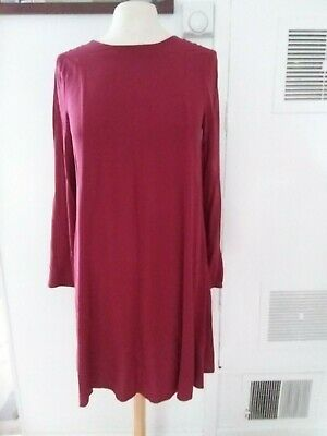 H&M Claret Burgundy Wine Maroon Red Long Sleeve Smock Style Dress Size 36
