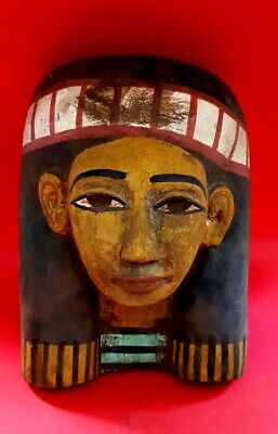 Rare Huge Ancient Ptolemaic Mummy Mask wooden egyptian coffin antiques pharaoh