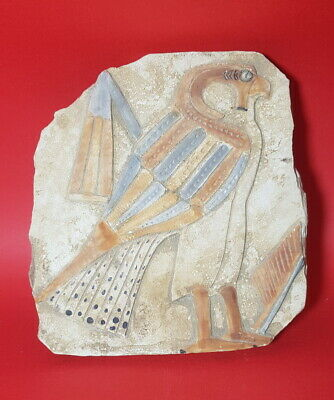 Gorgeous Rare Falcon Horus Relief ancient egypt antique plaque wall carved stone