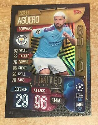 Match Attax 2019/20 Sergio Aguero Gold Limited Edition Card new