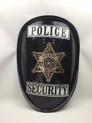 Large police shield riot control police USA import vintage man cave decor idea