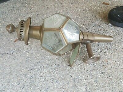 Antique Bras sLantern Wall Sconce Light Fixture Etched Beveled Glass Panels