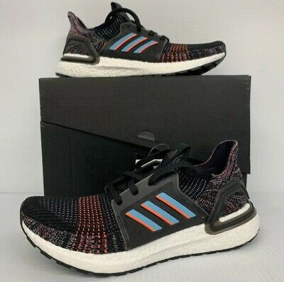 New Adidas Ultraboost 19 Core Black/Glow Blue Mens Shoes - Free Shipping -