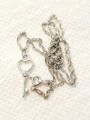 "Vintage Sterling Silver 18"" Chain Necklace & Key To My Heart Pendant, Jewelry"