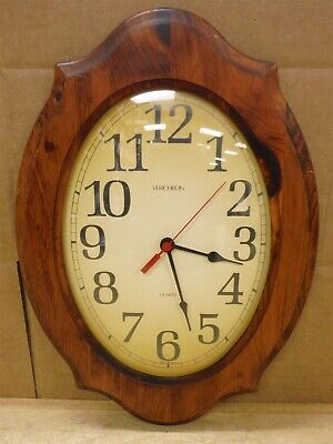 "Vintage VERICHRON Wall Clock Bubble Out Glass 18"" X 12"" Good Used Condition 208"