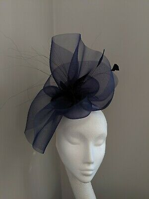 Navy Large Crinoline Fascinator, Weddings Races