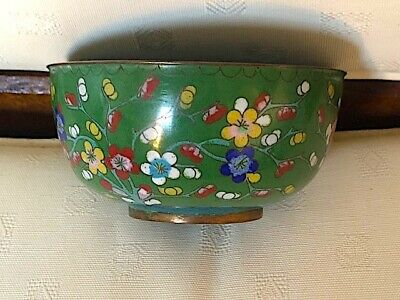 Lovely vintage/antique? Chinese cloisonne small bowl. Nice colours.