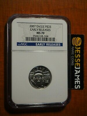 2007 $25 Platinum Eagle Ngc Ms70 Early Releases Blue Label 1/4 Oz .9995 Fine