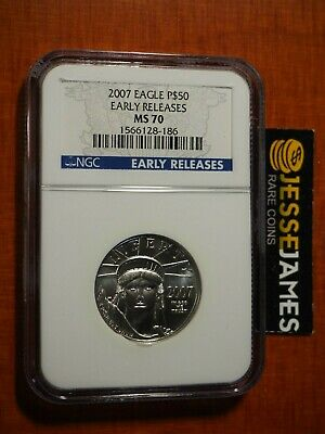 2007 $50 Platinum Eagle Ngc Ms70 Early Releases Blue Label 1/2 Oz .9995 Fine