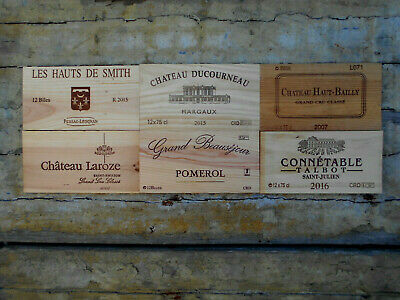 6 estampes bois façades de caisses vin Grands Crûs de Bordeaux  Wine box panels