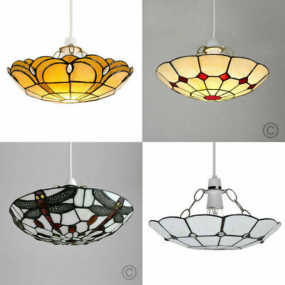 Ceiling Light Non Electric Tiffany Style Elegant Lounge Stained Glass