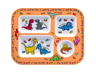 Dinosaur Divided Dinner Tray. Toddler Plate, Bowl. Baby Dino Dish Eat play learn