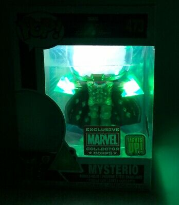 FUNKO POP MYSTERIO MARVEL COLLECTOR CORPS EXCLUSIVE LIGHTS UP Spiderman Far From