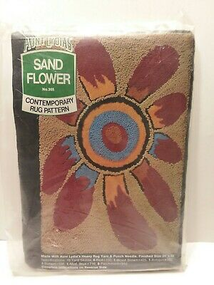 Vintage Aunt Lydia's Heavy Rug Yarn Punch Needle Pattern Canvas Sand Flower #305