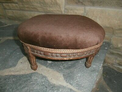 Antique Carved Wooden Oval Footstool / Rest. 6.5 Inches Height. Brown Velvet Top