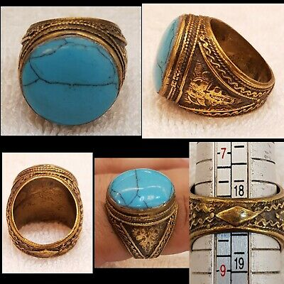 Gold Gulied Medieval Wonderful Old Ring With Beautiful Egyptian Turquoise Stone