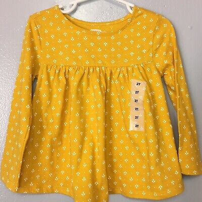 Girls Yellow Leafs Long Sleeves 100% Cotton Shirt Top Size 2T By Old Navy NWT