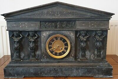 Large Victorian Black Marble/Slate Temple Mantle Clock Applied Roman Decoration