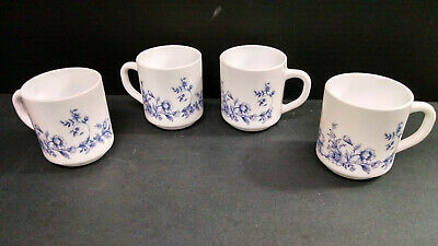Lot of 4 Arcopal France Coffee Cups/Mugs, Floral Vine Design, Milk Glass