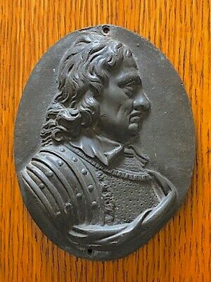Antique small  iron releif cast plaque of Oliver Cromwell. Wall hanging?