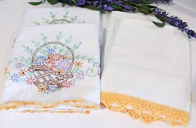 Vintage Embroidered Pillowcases 2 Pair LOT Yellow Flower Basket Yellow Crochet