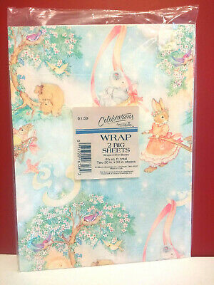 Vintage New Baby Gift Wrap Paper Unused Gibson Bunny Rabbits Elephant Bear Birds