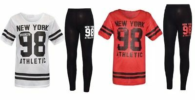 Kids Girl New York 98 Net Tracksuit Baseball Top&Bottom Two Piece Set Loungewear