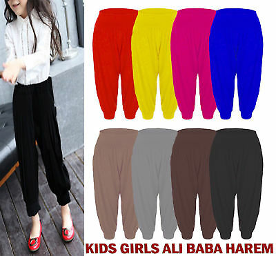 Kids Girls Ali Baba Harem Baggy Loose Full Length Leggings Long Trousers Pants