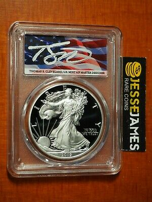 2019 S Proof Silver Eagle Pcgs Pr70 First Strike Flag Cleveland Signed Pop 40