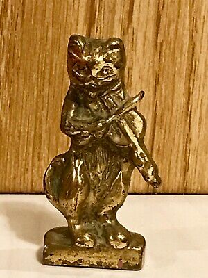 Antique Vintage Cast Brass-Plated Cat and The Fiddle Old-Rare Canada
