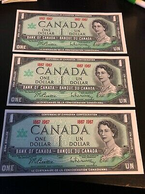 Lot Of 3 Canada Uncirculated Double Dated 1867 1967 $1 One Dollar Notes Bills