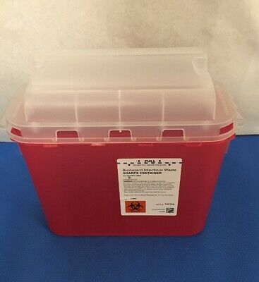 Plasti-Products #143154 Sharps Container, 5.4 Qt Horizontal Entry, Red - Qty: 10