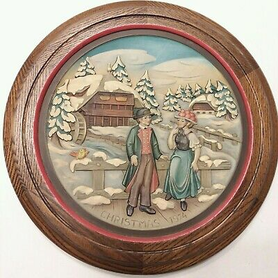 Christmas in the Black Forest  ANRI 1974 Carved Wood Plate # 1363