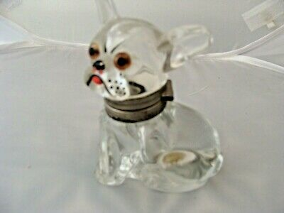 INKWELL ANTIQUE  ART DECO GLASS FRENCH BULLDOG Vintage dog ink well bottle 1920s