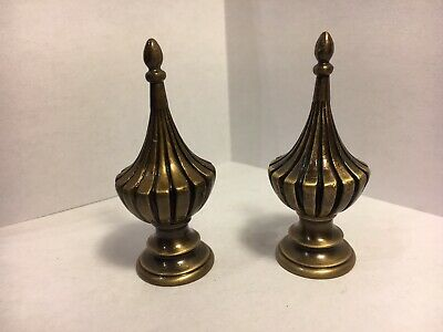 Vintage Brass Lamp Finial Pair/ 2 3/4 inch Antique