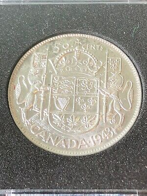 1943 Canada Silver Fifty Cent Coin High Grade In Square Capsule