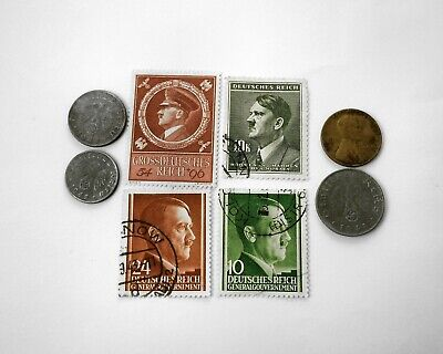 WW2 German Coins Stamps Hitler Nazi Swastika Elite Third Reich Money Penny Zinc
