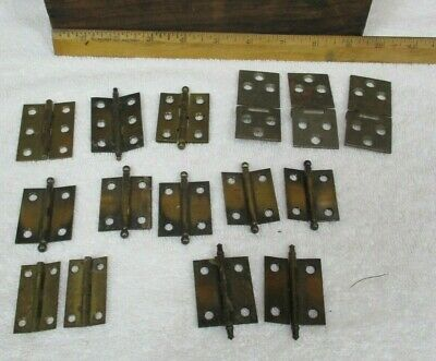 Lot of 15 Vintage Assorted Metal Small Cabinet Craft Hinges Cannonball H80