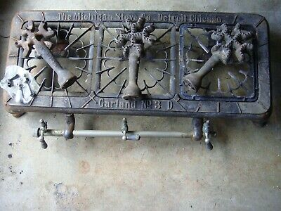 Michigan Stove Co Vtg Antique Garland Gas Table Top 199 Cast Iron Burner Grindle