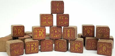 Antique Victorian Wooden Alphabet Blocks - Group of 28