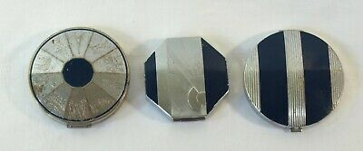 Lot of 3 Vintage EVENING IN PARIS by Bourjois Cosmetic Compacts - Art Deco Style