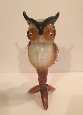 "Beautiful Murano Style Art Glass Amber Brown White 9"" Owl Figure Sculpture"