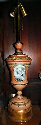 antique french? hand painted dbl socket porcelain lamp semi nude goddess flowers