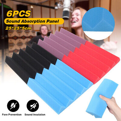 6PCS Wall Panels Acoustic Sound Proofing Foam Wedge Tiles Room Treatment