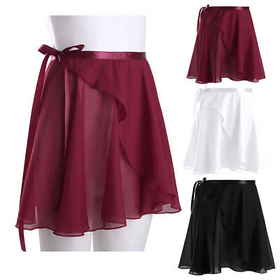 Women Ladies Chiffon Ballet Wrap Skirt Gym Skate Tutu Dancewear Ballroom Costume