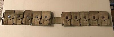 Original WW2 Battle Worn M1 Garand M1923 Cartridge Ammo Belt Dated 1943