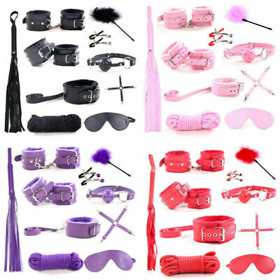 10Pcs Under Bed Bondage Set Restraint Kit Ankle Cuffs Whip System BDSM Toys LQ21