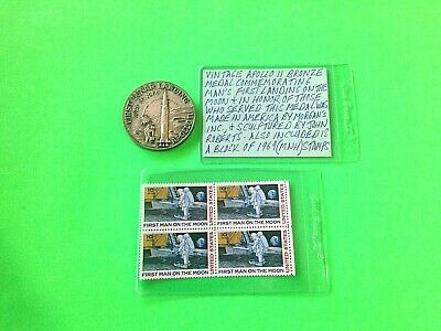 Apollo 11 50 Mm Bronze Medal From Morgan's, Inc./ John Roberts With 4 Stamps Mnh